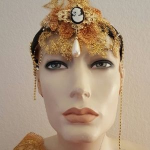 Sebrina Love Accessories - Flapper Gatsby Black and Gold Sequin Headpiece